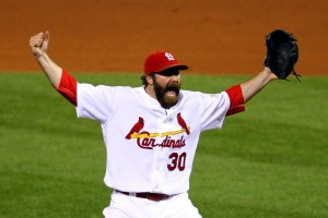 ST LOUIS, MO - OCTOBER 28:  Jason Motte #30 of the St. Louis Cardinals celebrates after defeating the Texas Rangers 6-2 to win the World Series in Game Seven of the MLB World Series at Busch Stadium on October 28, 2011 in St Louis, Missouri.  (Photo by Dilip Vishwanat/Getty Images)
