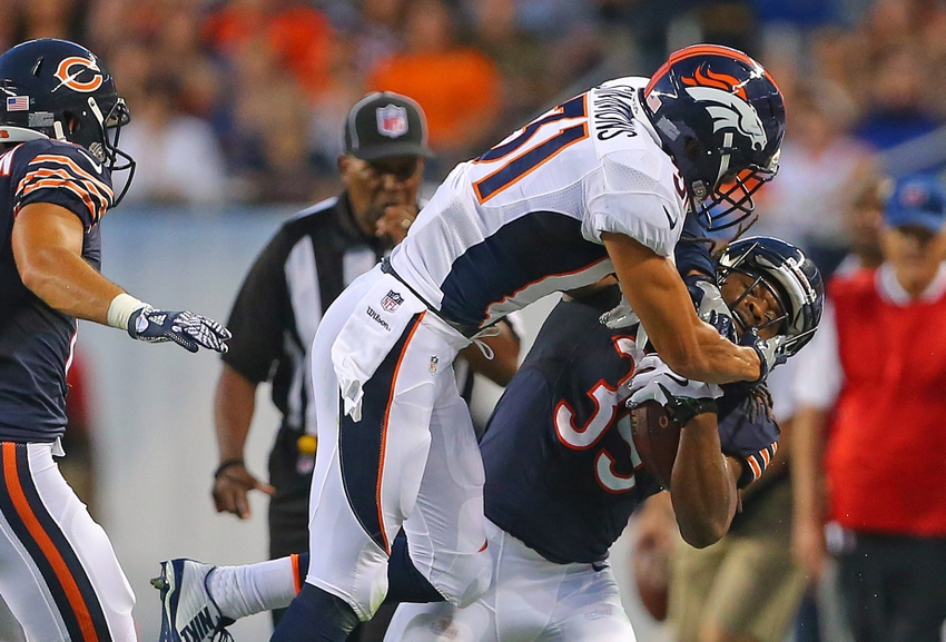 Aug 11, 2016; Chicago, IL, USA; Chicago Bears running back Jacquizz Rodgers (35) is forced out of bounds by Denver Broncos free safety Justin Simmons (31) during the second quarter at Soldier Field. Mandatory Credit: Dennis Wierzbicki-USA TODAY Sports