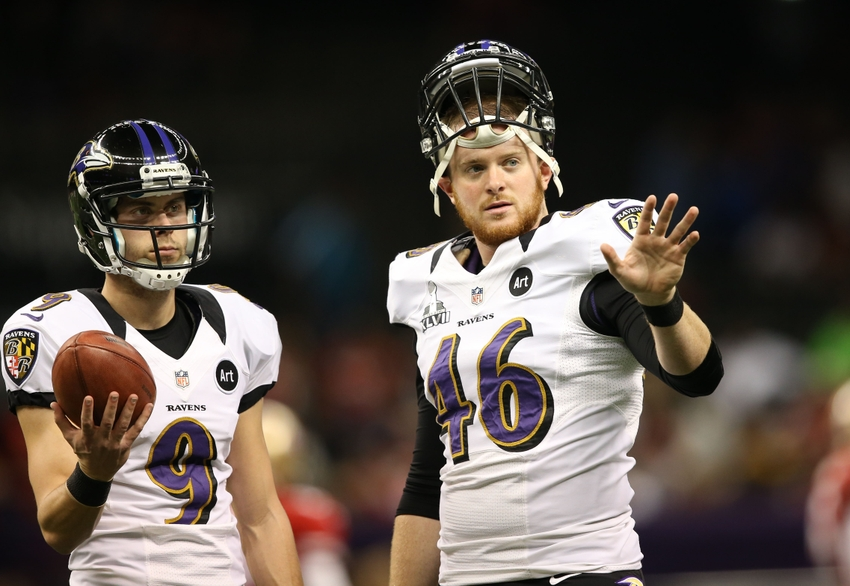 Feb 3, 2013; New Orleans, LA, USA; Baltimore Ravens long snapper Morgan Cox (46) with kicker Justin Tucker (9) against the San Francisco 49ers in Super Bowl XLVII at the Mercedes-Benz Superdome. Mandatory Credit: Mark J. Rebilas-USA TODAY Sports